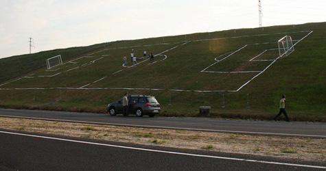 Strangest soccer field!